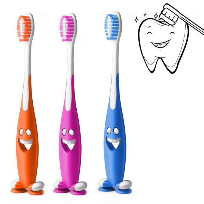 12 Smiley Happy Toothbrush Suction Cup Stand Soft Bristles Kid Toddler Oral Care