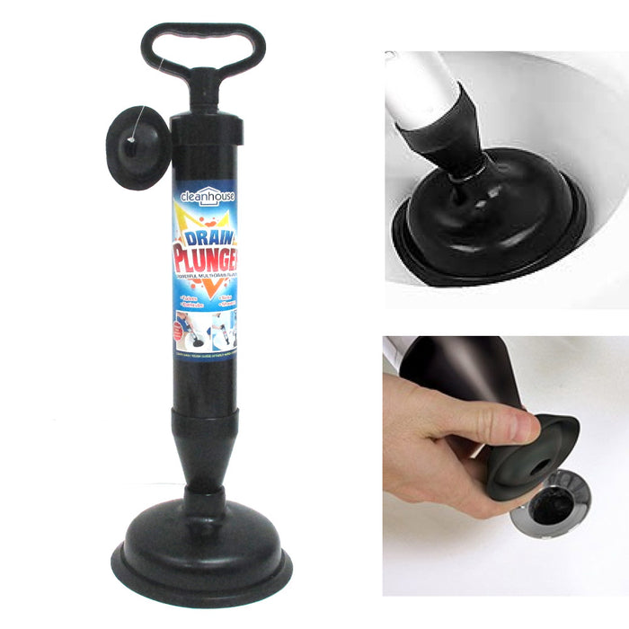 Hand Powered Drain Plunger Buster Powerful Suction Plunger Bath Toilet Air Pump