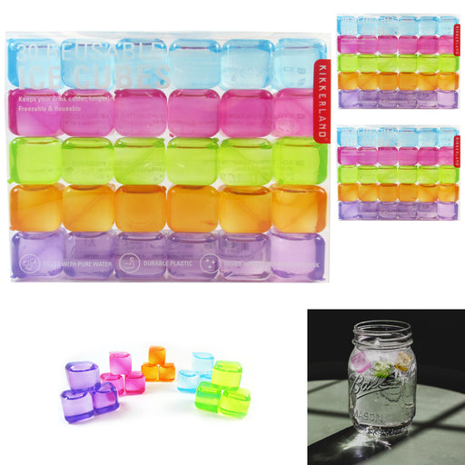 90 x Kikkerland Reusable Ice Cubes Square Plastic Cooling Bar Drinks Pure Water
