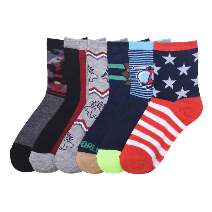 12 Pairs Lot Kids Socks Toddler Boys Casual Ages 6-8 Animal Design Wholesale USA