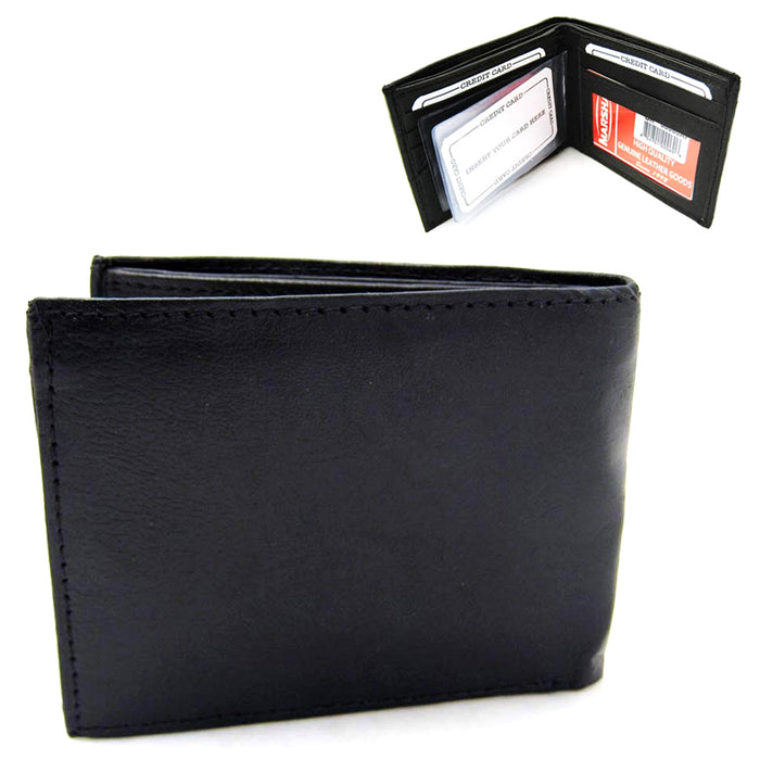 RFID Wallet Blocking Genuine Leather Mens Bifold Money Credit Card Safety Black