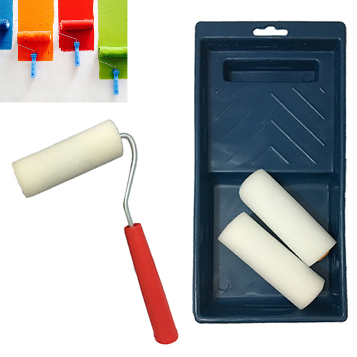 "5PC Small Paint Roller Tray Set Foam 4"" Brush Wall House Supplies Tool Kit Decor"