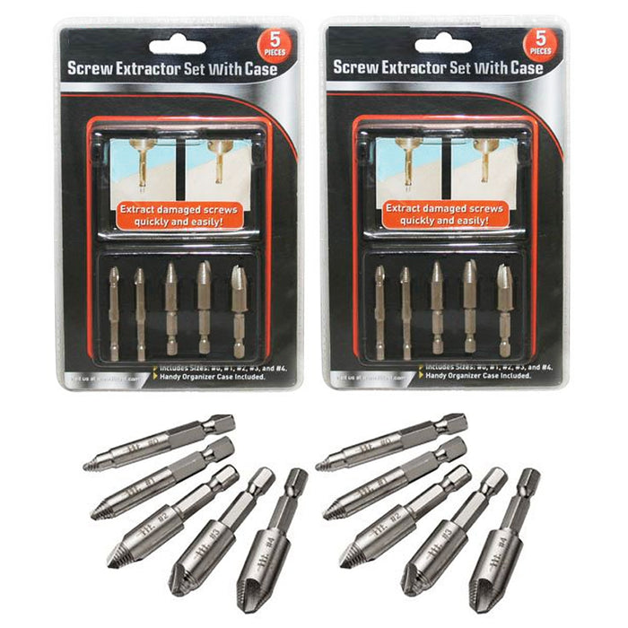 10 Screw Extractor Drill Bits Easy Out Guide Set Remover Broken Bolt Damaged Kit