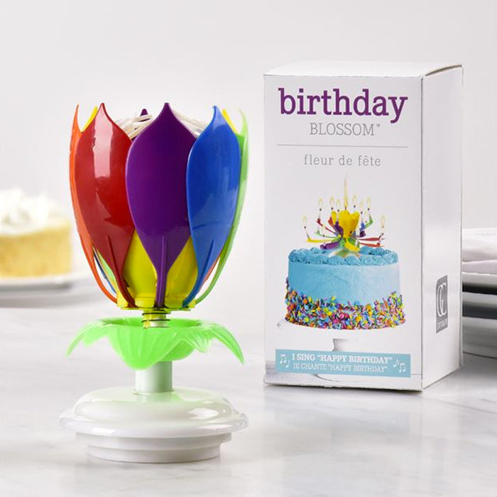 Happy Birthday Musical Flower 14 Candles Rotating Lotus Cake Topper Decor Gift