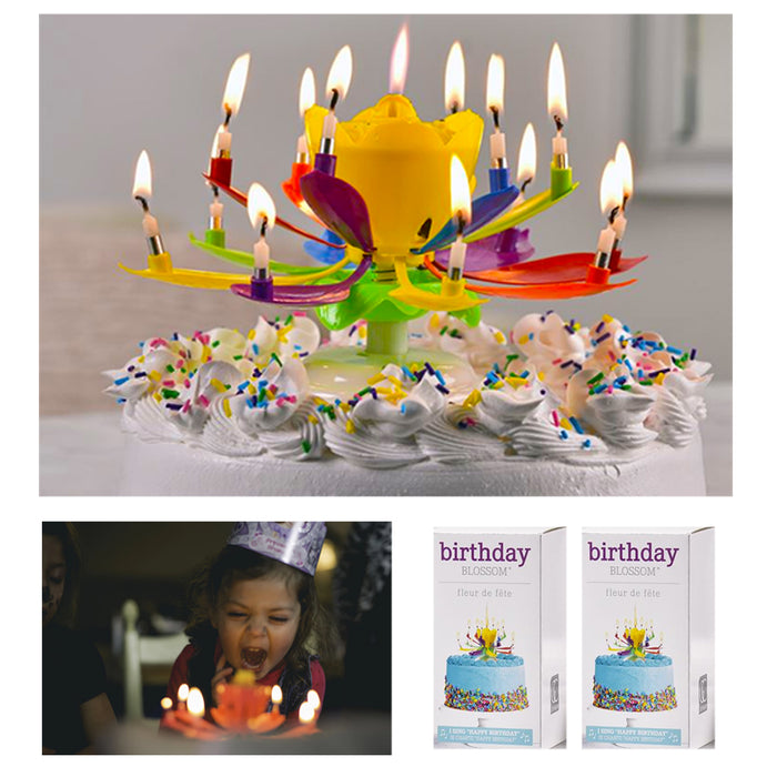 2 Rotating Lotus Musical Flowers Happy Birthday Cake Topper Gift Decor 14 Candle