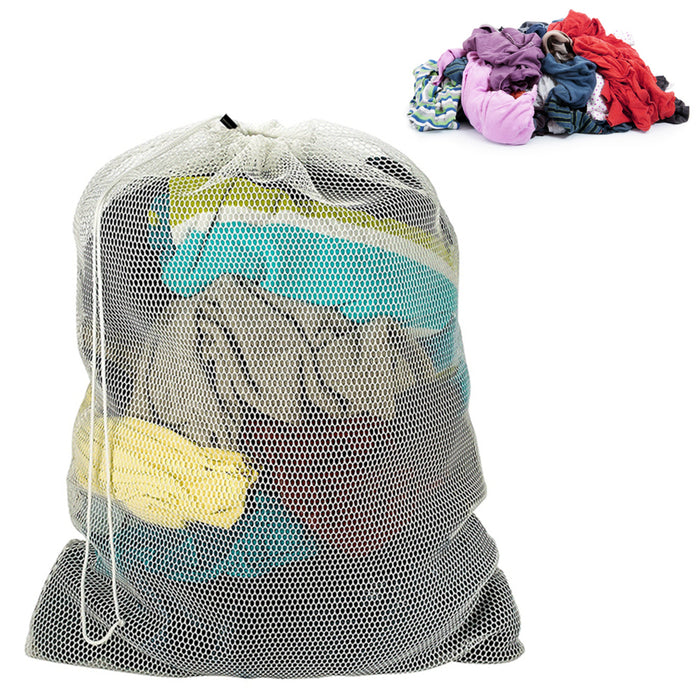 "Lot of 12 Laundry Bag Drawstring Mesh Storage Wash Clothes Heavy Duty 18"" x 12"""