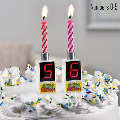 2Pk Musical Happy Birthday Candle Cake Topper Digital Number 0-9 Home Gift Party