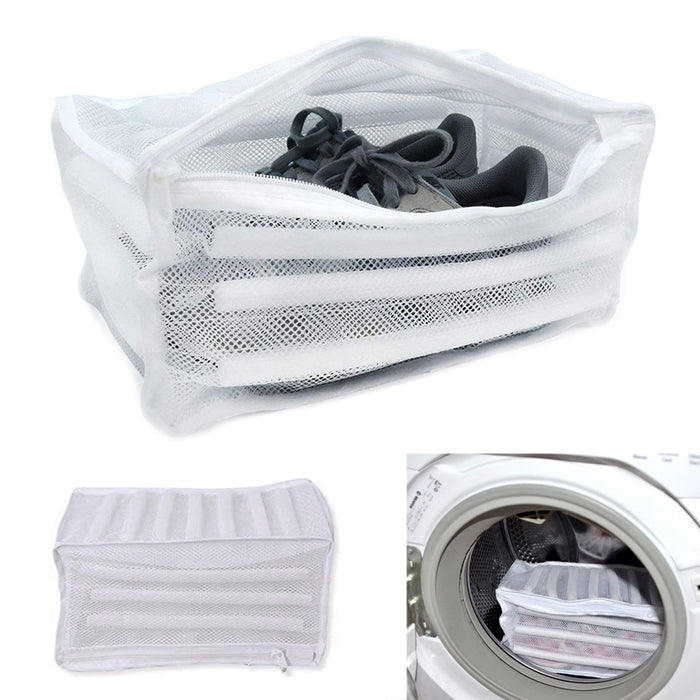 Laundry Mesh Wash Bag Net Washing Sneaker Shoe Zipper Pouch Cleaning Dry Storage