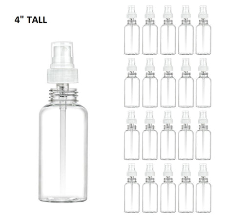 20 Clear Plastic 2oz PET Empty Spray Bottle Refill Mist Pump Travel TSA Reusable