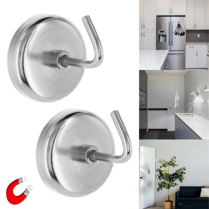 "2PC Heavy Duty 1.5"" Magnetic Hooks Set 8lb Capacity Kitchen Garage Universal Use"