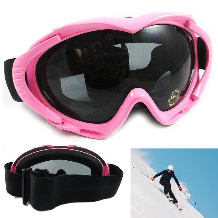 Adult Snowboard Ski Snow Googles Anti-Fog Lens UV Protection Pink Skate Eyewear