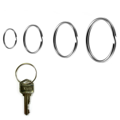 12PCS Keyrings Nickel Plated Key Holder Split Rings 4 Sizes Heavy Duty Accessory