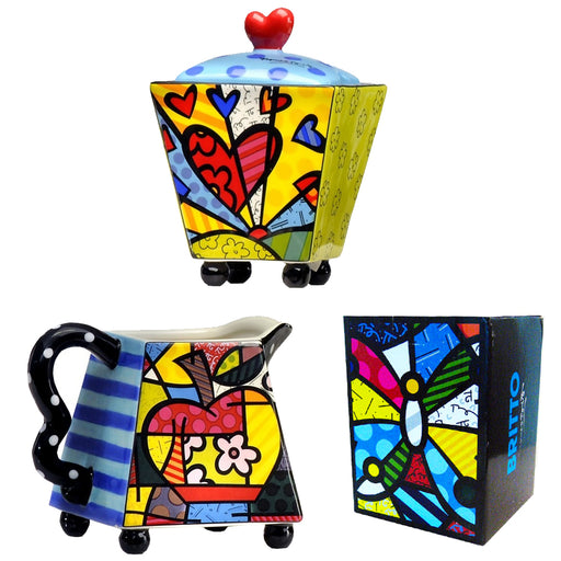 New Romero Britto Creamer and Sugar Set Ceramic Cream Coffee Bowl Collection NIP