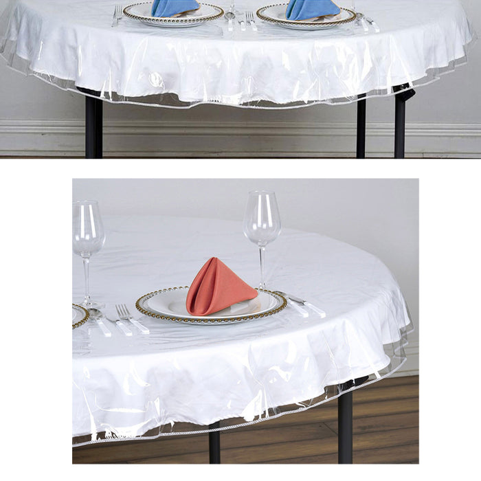 "Oval Window Clear Vinyl Tablecloth Protector Heavy Plastic Table Cover 54"" x 72"""