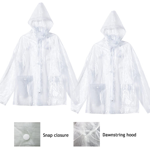 2PC Outdoor Rain Poncho Multifunctional Waterproof Raincoat Hooded Compact Adult