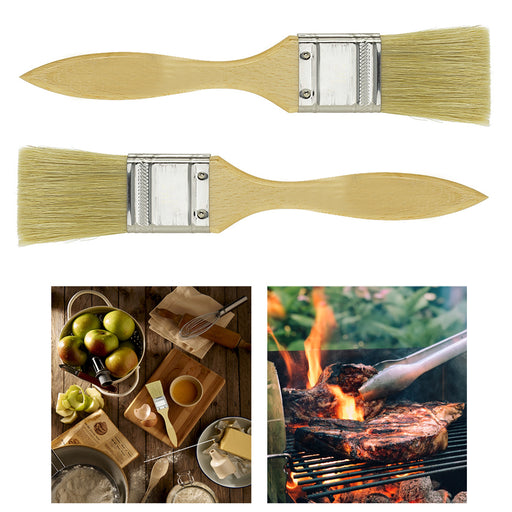 "2 Pack Natural Bristle Pastry Brushes Kitchen Cooking Basting BBQ 1"" Baking Tool"