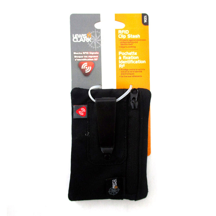 9e00535c77a2 RFID Clip On Stash Pouch Wallet Travel Safe Security Id Holder Lewis N  Clark BK