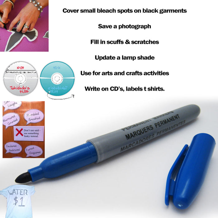 3 Pc Permanent Markers Fade Water Resistant Super Assorted Ink Fine Point School