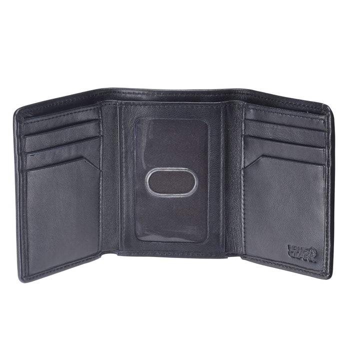 RFID Blocking Wallet Mens Tri-Fold Leather Card Security Safe Lewis N Clark New
