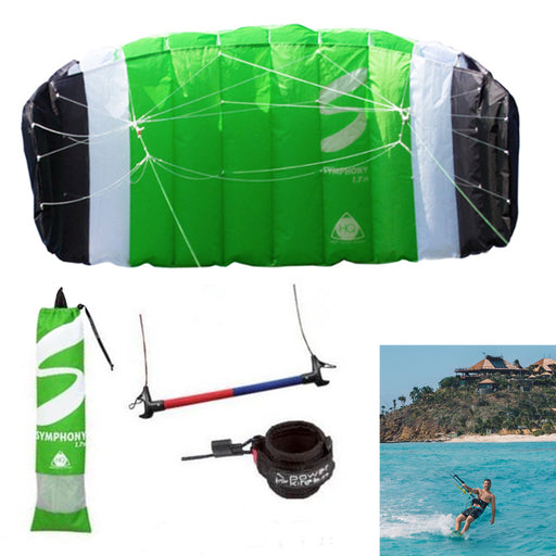 HQ Kite Power Symphony TR II 1.7 Control Bar Line Kiteboarding Trainer Kit Green