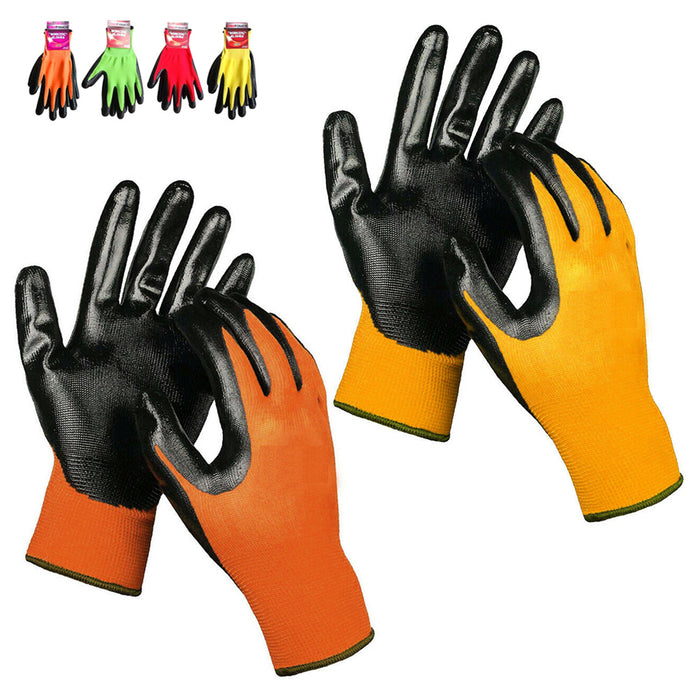 2 Pair Working Gloves Gardening Clamming Nitrile Coated Cut Resistant Protection