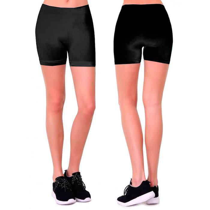 Womens Stretch Casual Shorts Biker Exercise Yoga Workout Seamless One Size Black