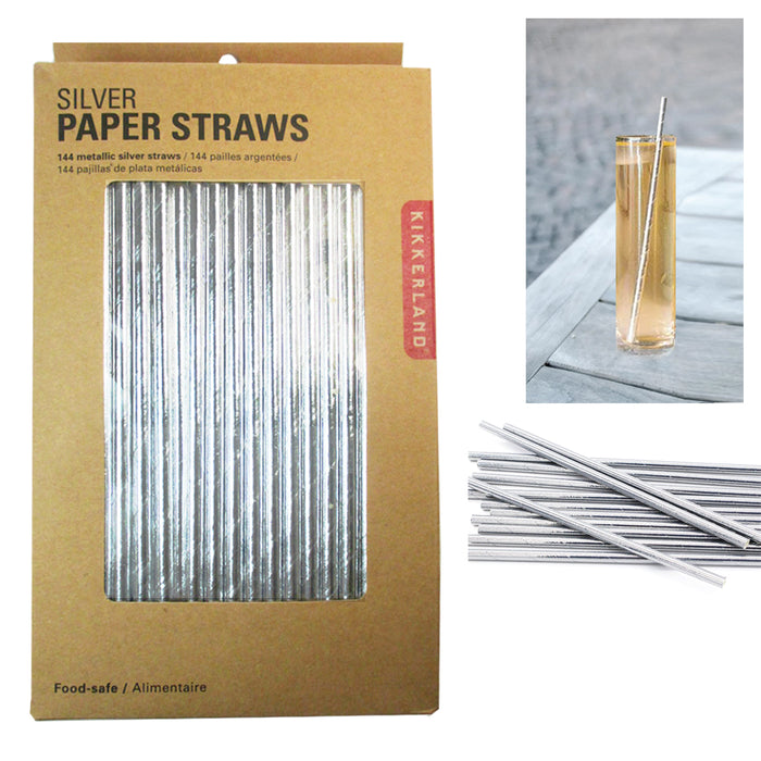 Silver Paper Straws New Design Holidays Box Birthday Party Fancy Supplies x144