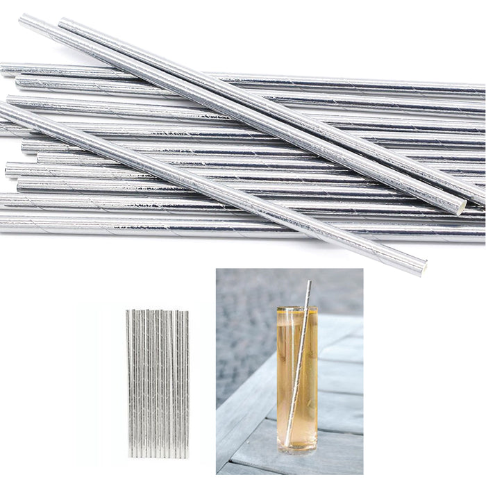 288 Kikkerland Paper Straws Metallic Silver Design Drink Biodegradable Party Box