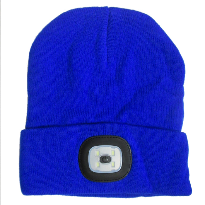 4 LED Beanie Lighted Cap Warm Wool Hat Winter Flashlight Style Night Camping New