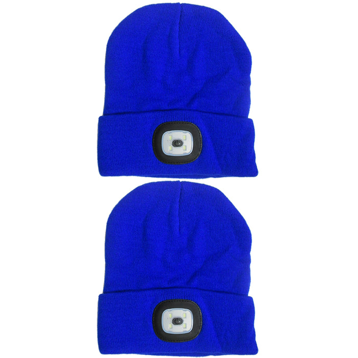 New LED Flashlight Style Hat Winter Warm Free Knitted Beanie Camping Running Cap