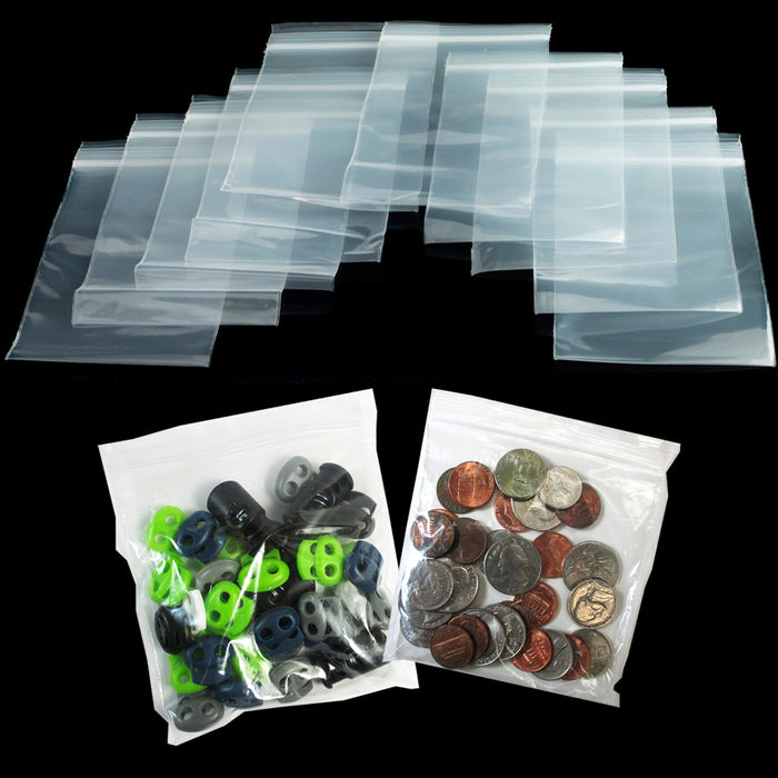 "500 Lot Zipper Baggies 4"" X 4"" Reclosable Seal Clear Bag Plastic Heavy Duty 2Mil"