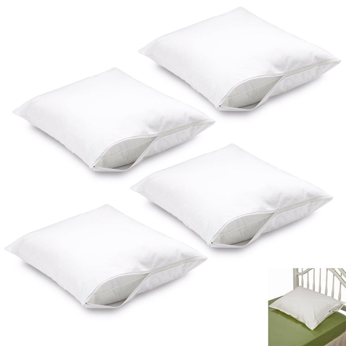 4 PC Premium Deluxe Luxurious Fabric Zippered Pillow Cover Bed Bug Protector New