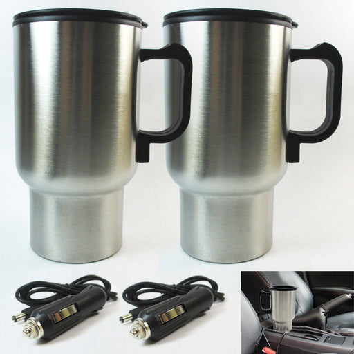 2 Travel Heated Mug Auto Car Stainless Steel Portable Cup Coffee Tea Charger 12V