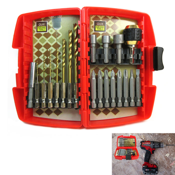 Impact Drill and Drive Driver Bit Set Tool Combo 20 Piece Kit Repair w/ Case NEW