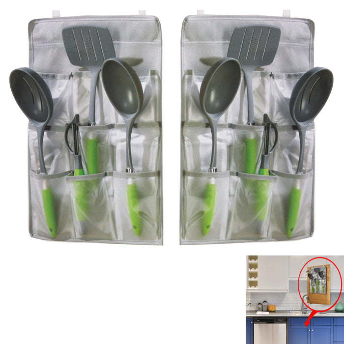 2 PK Over The Door Hanging Pantry Organizer Clear Pockets Storage w/ Metal Hooks