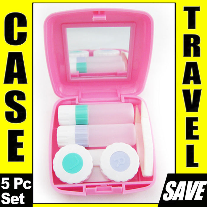Contact Lens Case Kit Compact Mirror Travel Eye Care Saline Solution Bottle Pink