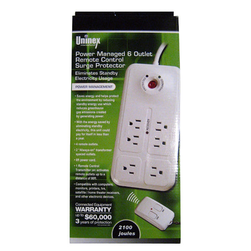 Power Strip 6 Outlet W/RF Remote Control Surge Protector Home Office Save Energy