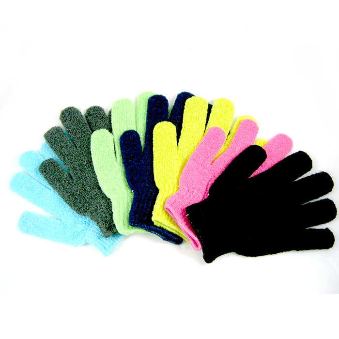 4 Pcs Shower Exfoliating Wash Skin Spa Bath Gloves Massage Loofah Scrubber New
