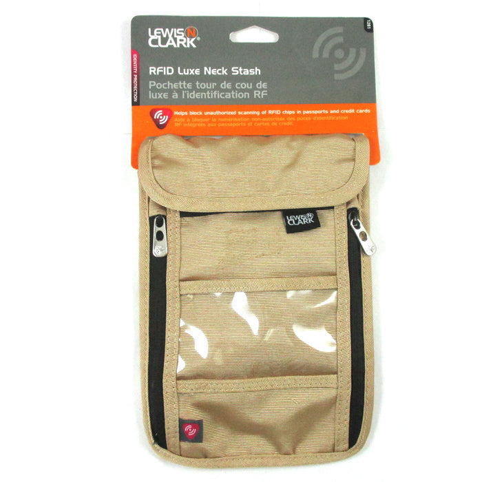 RFID Neck Stash Pouch Travel Holder Passport Id Wallet Bag Lewis N Clark Tan !