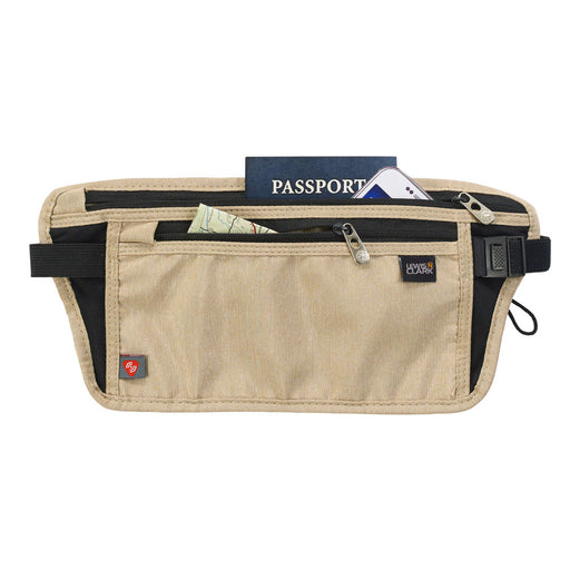 Lewis N Clark RFID Blocking Waist Stash Money Belt Passport Id Holder Travel Tan