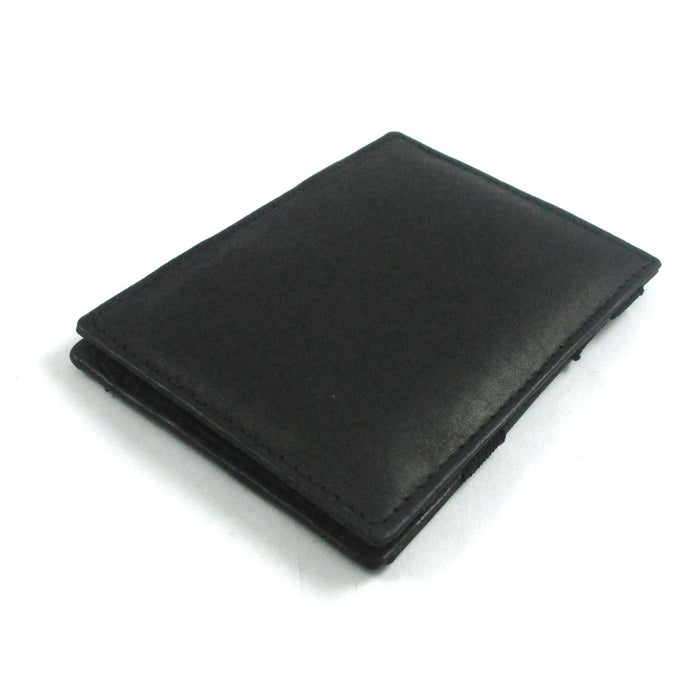 Mens Genuine Leather Magic Flip Wallet Credit Card ID Holder Money Clip Black