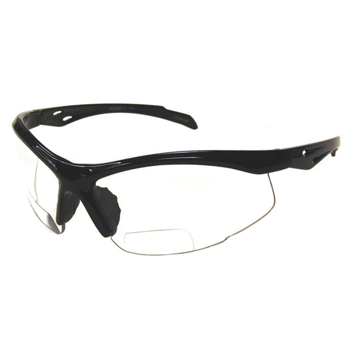 Clear Lens +2.50 Bifocal Reading Magnifier Safety Glasses Protective Black Frame
