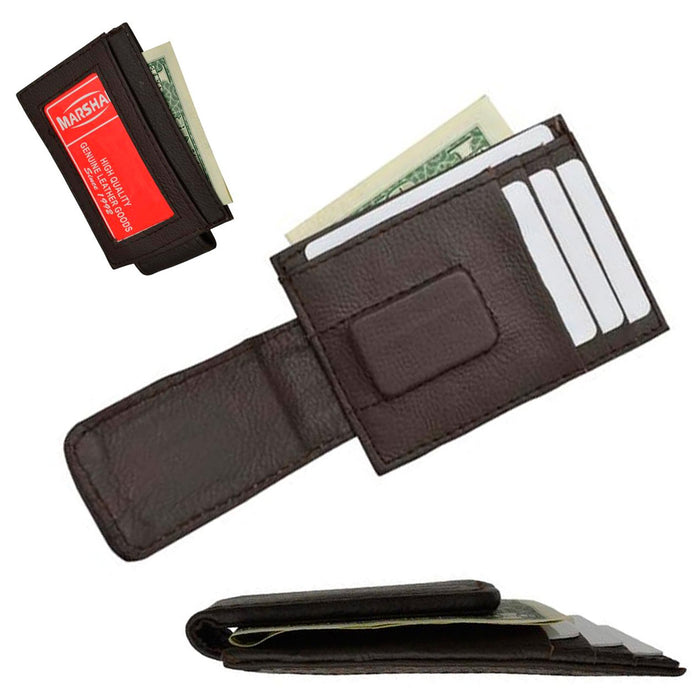 704e391e132b Mens Leather Money Clip Slim Front Pocket Magnetic ID Credit Card Wallet  Brown