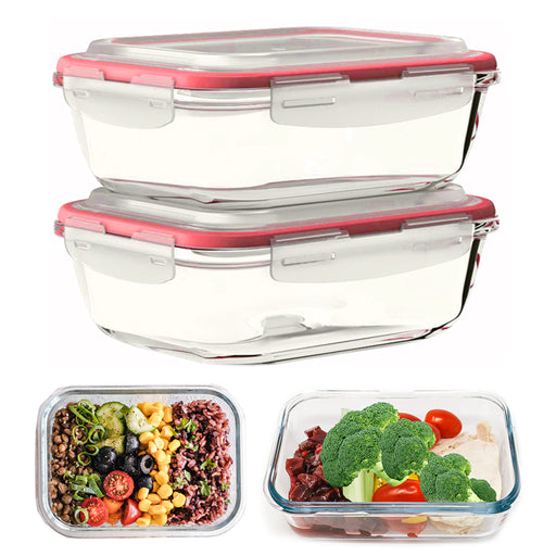 2 Glass Food Storage Containers Baking Meal Prep Snap Locking Lid 33 oz BPA-Free