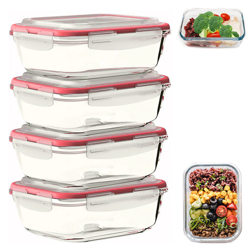 4 Rectangular Glass Food Storage Containers Leakproof Locking Lids 33oz BPA-Free