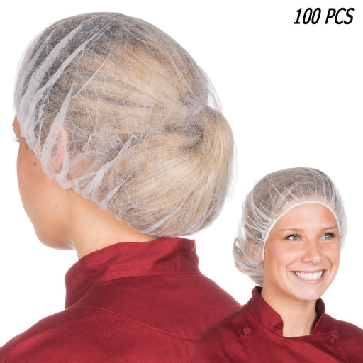 "100 Pcs Disposable Hair Net White Bouffant Caps 21"" Non Woven Head Cover Medical"