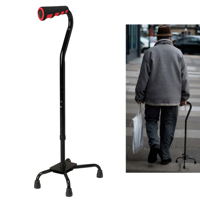 Quad Cane Walking Stick Lightweight Adjustable Right Left Hand Grip Support Base
