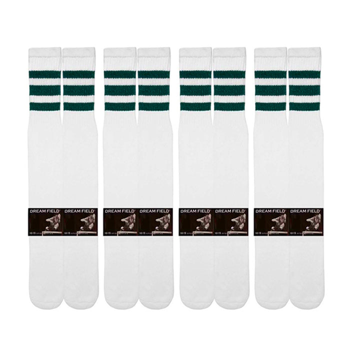 4 Pairs Casual Knee High White Tube Socks Long Athletic Green Stripe Sport 10-15