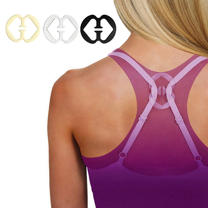 2 Pair Clear Invisible Bra Straps 3 Cleavage Control Holder Clips Conceal Adjust
