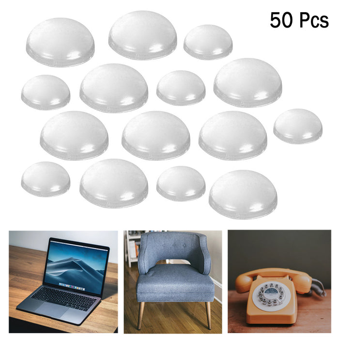 50Pc Self Adhesive Clear Feet Bumpers Round Stick Pads Laptop Cabinet Protection